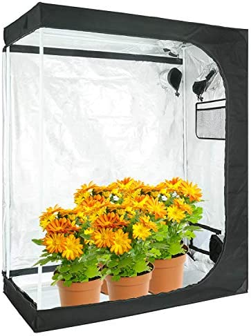 AIKI VT 48 x24 x60 Reflective Mylar Hydroponic Grow Tent with Observation Window and Waterproof Floor Tray for Indoor Plant Growing 4×2 for 2-3 Plants