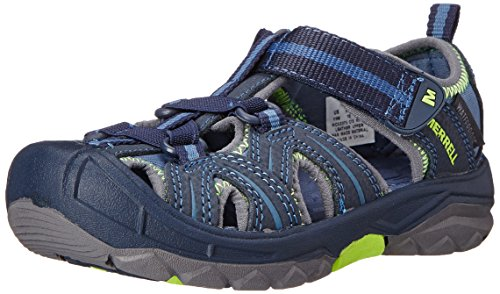 Merrell Hydro Water Sandal , Navy/Green,4 M US Big Kid