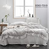 Simple&Opulence 100% Stone Washed Linen Frill Floral Ruffled Flax Duvet Cover Set (Queen, Floral Grey)