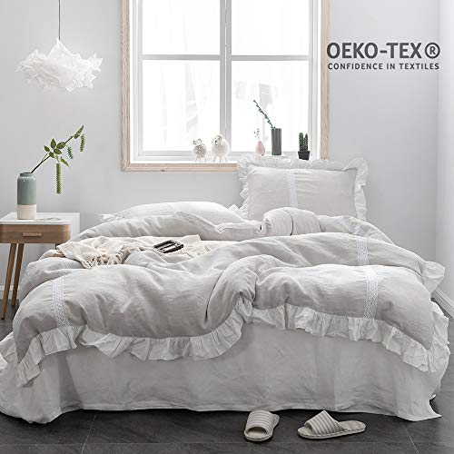Simple&Opulence 100% Stone Washed Linen Frill Floral Ruffled Flax Duvet Cover Set (Queen, Floral Grey) ()