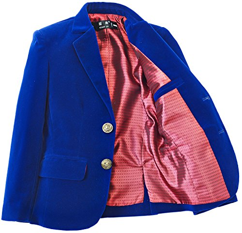 Yuanlu Boys Single-Breasted Velvet Royal Blue Blazer Size -