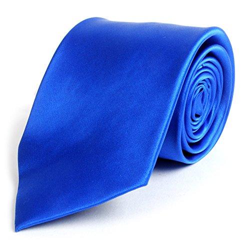 Blue Multi Color Tie (Solid Silk Mens Plain Multi Color Tie, Royal Blue)
