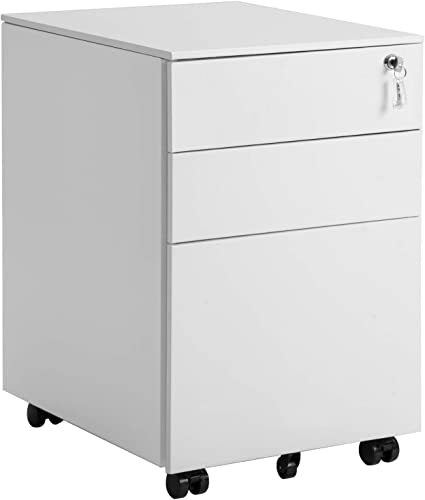 3 Drawer Mobile File Cabinet Rolling Metal Cabinet with Drawers with Lock Under Desk Fully Assembled Except 5 Casters White