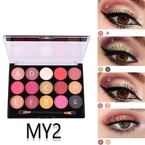 Alonea Eyeshadow Palette Glitter Shimmer, 15 Colors Pearlescent Matte Eye Shadow Makeup Multicolored Eye Shadow Plate (MY2#❤️)