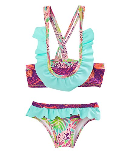 OFFCORSS Toddler Girl Kids Two Pieces Floral Swimsuit With Ruffles Beach Clothing Swimwear UV Protection For Summer Trajes de Baño Niñas Green 12 M
