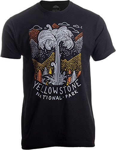 Yellowstone National Park | Geographic Poster Print Travel Art Men Women T-Shirt-(Adult,M) Black