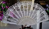 White Chinese Japanese Foldable Lace Flower Golden Hand Held Dancing Party Wedding Fan