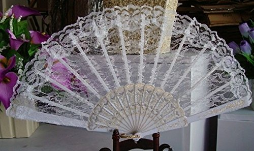 White Chinese Japanese Foldable Lace Flower Golden Hand Held Dancing Party Wedding Fan by HandFan
