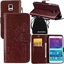 DRUnKQUEEn Note 4 Case, Galaxy Note4 Case, Wallet Case with Cellphone Holder - PU Leather Cover Purse Slim Fit Card Slot for Samsung Galaxy Note4 N910