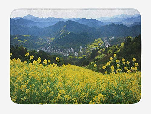 Weeosazg Nature Bath Mat, Flower Meadow Over The Village Mountains in a Row Grass Fresh Field Photo Print, Plush Bathroom Decor Mat with Non Slip Backing, 31.5 X 19.7 Inches, Yellow Green]()