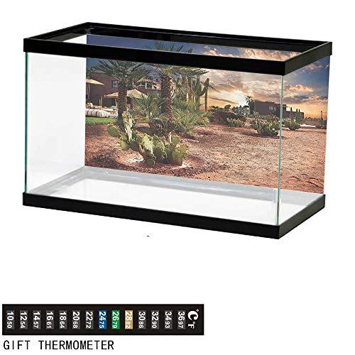 bybyhome Fish Tank Backdrop Desert,Majestic Sky Palm Trees,Aquarium Background,36