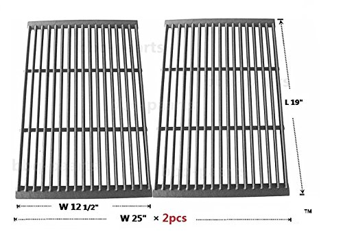 Grill Gourmet Series (Hongso PCF662 Porcelain Cast Iron Cooking Grate Replacement for Brinkmann, Charbroil, Charmglow and Other Grills, Set of 2)