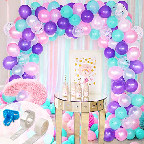 Whaline Mermaid Balloon Arch & Garland Kit, Purple, Pink, Aqua, White and Mermaid Confetti Balloons with 16ft Balloon Strip Tape, 1 Tying Tool and 100 Dot Glue for Wedding Birthday Party Decor - Purple Kit