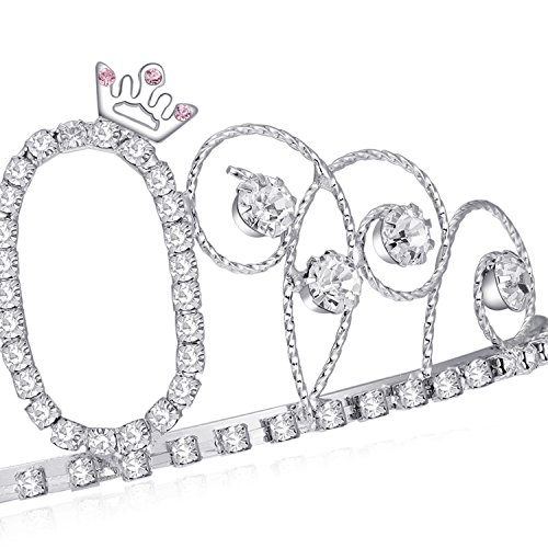 BABEYOND Crystal Tiara Birthday Crown Princess Crown Hair Accessories  Silver Rhinestone Diamante Happy ... 6f00902339fa