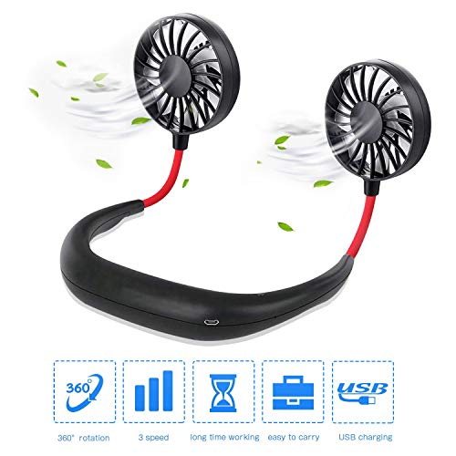 Hand Free Personal Fan,2000mAh USB Rechargeable Mini Sports Neck Hanging Fan with Dual Wind Head and Three Speed Adjustable,360 Degree Free Rotation Perfect for Sports,Traveling Office Room (Black) (3 Wide Pack Neck)