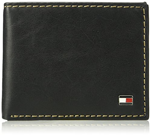 Tommy Hilfiger Men's Leather Wallet - RFID Blocking Slim Thin Bifold with Removable Card Holder and Gift Box, Logan - Black