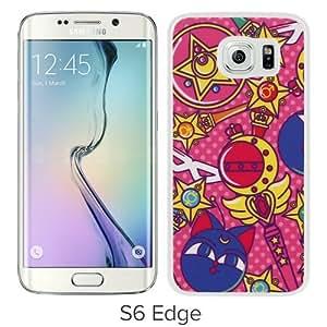 Hot Sale Samsung Galaxy S6 Edge Screen Case ,Sailor Moon White Samsung Galaxy S6 Edge Cover Case Unique Popular Designed Phone Case