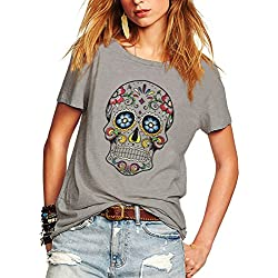 Weigou Woman T Shirt Floral Skull Contrast Color Junior Tops Tee Punk Street Style Lady Shirt (L, Gray)