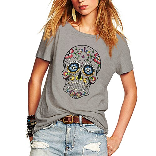 Weigou Woman T Shirt Floral Skull Contrast Color Junior Tops Tee Punk Street Style Lady Shirt (XXL, Gray)