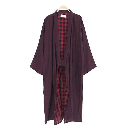 Trajes de Estilo japonés de los Hombres Pure Cotton Kimono Robe ...