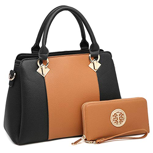 MK Belted collection Fashion Hobo Handbag for Women~2 PCS Women's Tote Bag Satchel Handbag Shoulder Bags W coin purse (8013-Brown/Black)