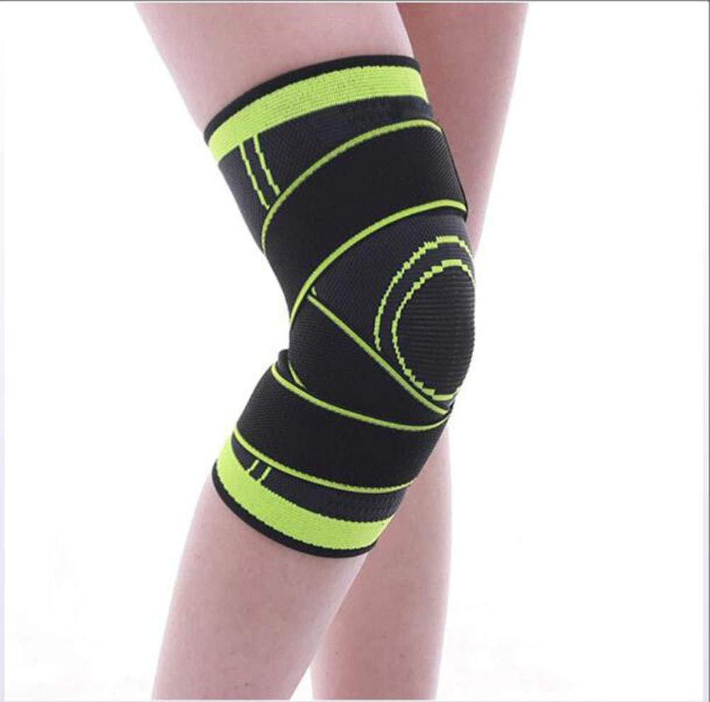 Green Small 3D Weaving Sports Knee Pads Compression Knee Brace Basketball Tennis Hiking Cycling Knee Support Predective Sports Kneepads 1 Pair