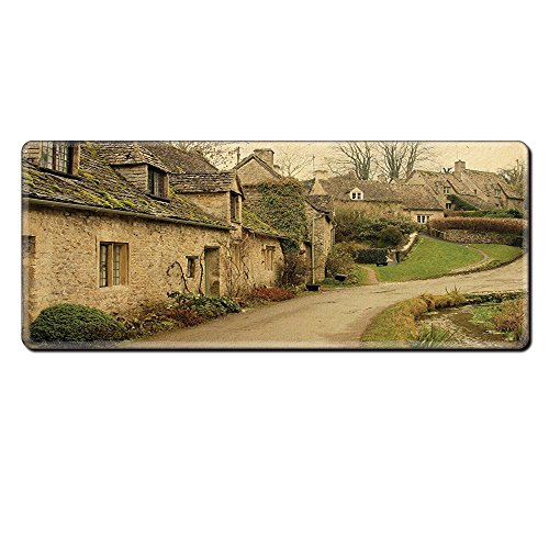 Mouse Pad Unique Custom Printed Mousepad Farm House Decor British Town With Stone Houses Retro England Countryside Buildings Image Grey Green Stitched Edge Non Slip - British Triathlon