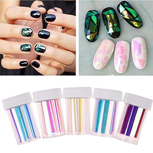 Fheaven 5 Pcs Newest Nail Art Stencil Broken Glass Foils Nails Wraps Decal Glitter Shattered Glass DIY Nail Art Stencil Decal Stickers