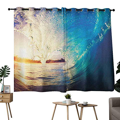 Mannwarehouse Ocean Light Luxury high-end Curtains Sunrise on Waves Surfer Perspective Surreal Coastal Charm Sports Lifestyle Scene 70%-80% Light Shading, 2 Panels,55