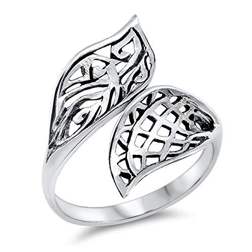 CloseoutWarehouse Oxidized Sterling Silver Double Leaf Design Ring Size 8