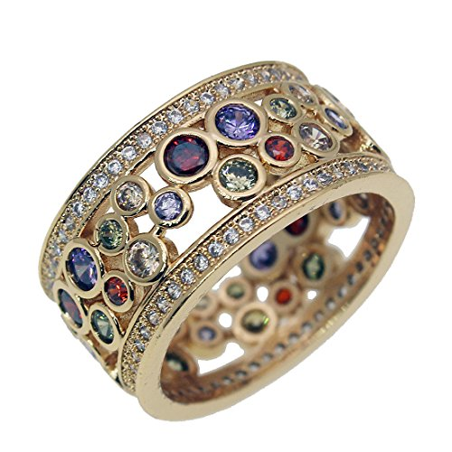 Wedding Ring Yellow Gold Garnet Amethyst Morganite Gemstone Size 7 8 9 (7)