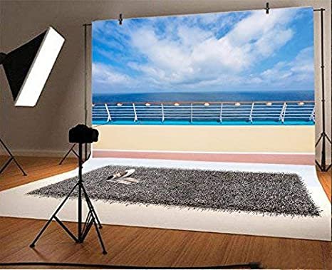 CdHBH Cruise Deck Seascape Backdrop 10x7ft Vinyl Photography Backgroud Wooden Board Stairstep Blue Sea Sky View Summer Holiday Summer Children Adult Leisure Vacation