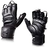 Elite Leather Gym Gloves with Built in 2' Wide Wrist...