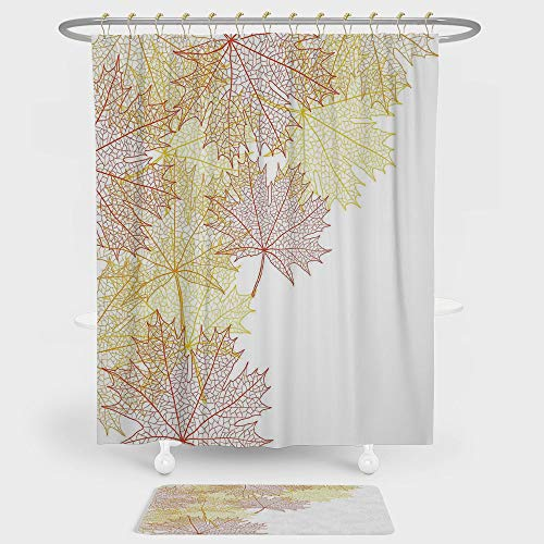 iPrint Leaves Shower Curtain And Floor Mat Combination Set Pattern with Maple Tree Fall Leaves Skeleton Dried Golden Forms Halloween Decoration Decorative For decoration and daily use Red Yellow