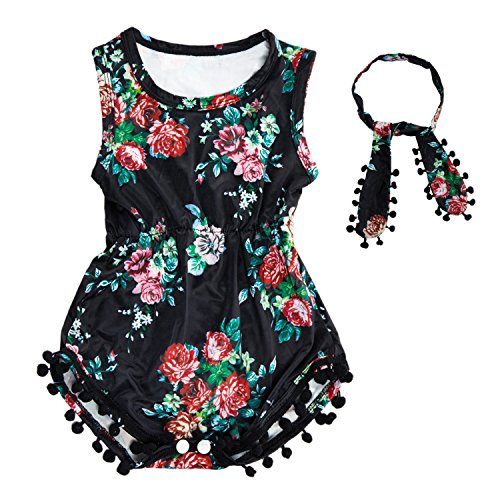Baby Girl Romper Jumpsuit Dress,Summer Clothes with Infant Headband Gifts,0-6 Months,Black