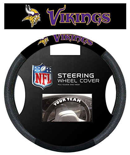 NFL Minnesota Vikings Poly-Suede Steering Wheel Cover Auto Accessories 15 x 15in