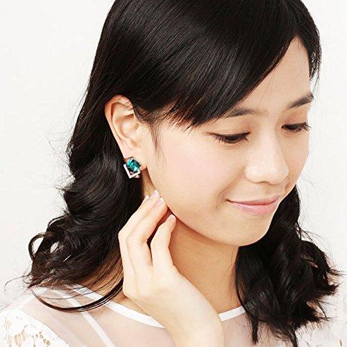 Gambulin Stylish Green Cube Crystal Rhinestone Geometric Stud Earrings,Geometric Stud Earrings for Women,Girls