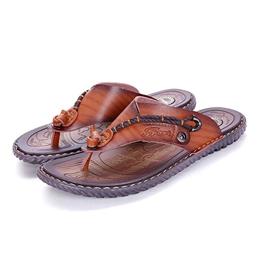 Abrasion 5MUS Brown Soft Beach Men's PU Sunny Size Leather Resistant Flip 7 Slippers Band Non Thong Flops Wide amp;Baby Slip Brown Sole Color Sandals XAHBxqHOa