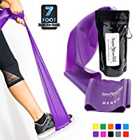 Super Exercise Band 7 Ft. Long Flat Latex Free Resistance Bands. Your Home Gym Fitness Equipment Kit for Strength Training, Physical Therapy, Yoga, Pilates, Chair Workouts. You choose Light, Medium