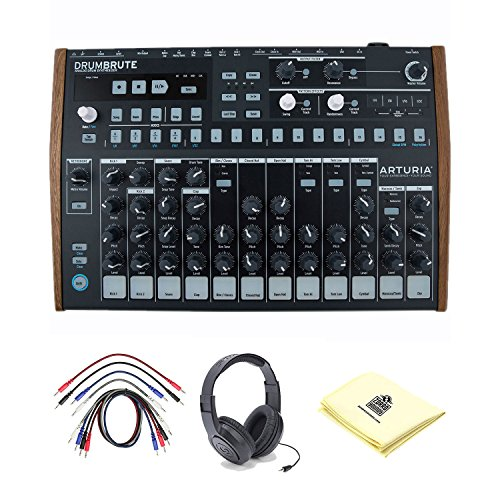 Arturia DrumBrute Analog Drum Machine with Patch Cables, Open-Ear Headphones and Zorro Sounds Drum Machine Polishing Cloth by Arturia