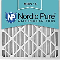 Nordic Pure 16x25x4 (3-5/8 Actual Depth) MERV 14 Pleated AC Furnace Air Filter, Box of 6