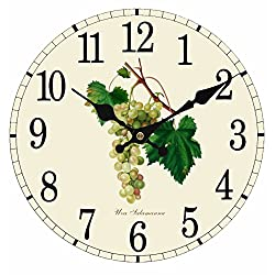 Upuptop Antique Style Kitchen Decorative Round Wall Clock Fresh Green Grapes 14