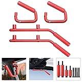 Koval Inc. 07-16 Jeep Wrangler JK 4-Door Pair Front & Rear Grab Handle Bar (2 Front & 2 Back Grab Handles, Red)