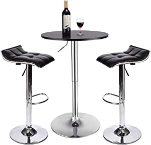 Bar Table Set of 3 - ARTETHYS Adjustable Round Table and Swivel Adjustable Barstools Set for Home Kitchen and Bistro (Black Table+Black Stools)