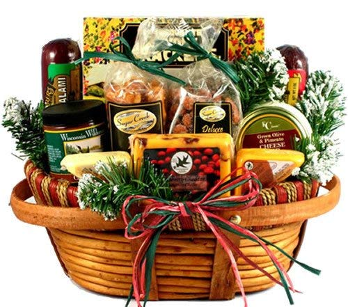 Hometown Holiday Gourmet | Christmas Gift Basket of Wisconsin Cheeses Sausage and Nuts