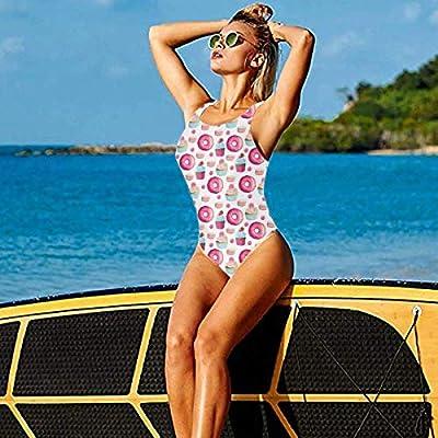 TMVFPYR Women's One Piece Swimsuit Food Macarons Donuts Pink Sexy High Cut Low Back Bikini Swimwear: Ropa y accesorios