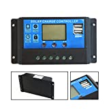 ALLPOWERS 20A Solar Charge Controller Solar Panel Battery Intelligent Regulator with USB Port Display 12V/24V