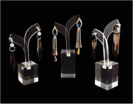 Unique Modern Design Pinewood Clear Acrylic Earrings Display Stands Photo Taking Online Store Fine Presentation Trade Shows
