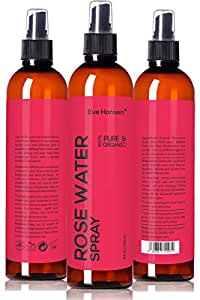 Organic Rose Water Spray By Eve Hansen. Huge 8 Ounce Bottle! Pure Rosewater Toner with Uplifting Floral Scent. Facial Toner for Skin and Eyes That Helps Balance PH, Soothes Puffy Eyes, and Redness.