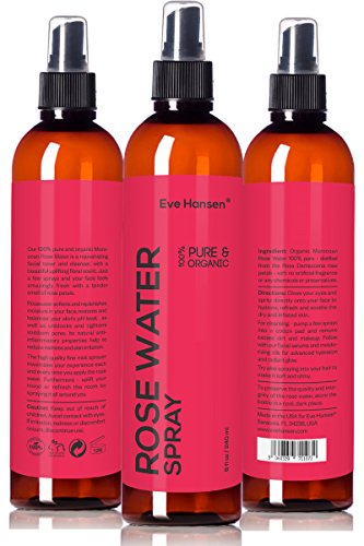 8oz ORGANIC ROSE WATER SPRAY - 100% Pure & Natural Facial Toner with Uplifting Floral Scent - SEE RESULTS OR. Just a few sprays & your face feels amazingly fresh with tender smell of roses! (Rose Extract Edible compare prices)